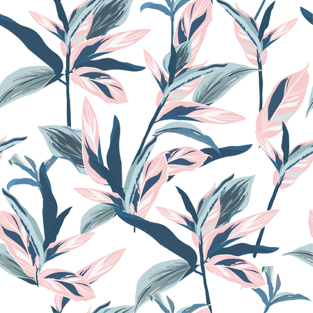 Tropical leaves on pastel mood Seamless graphic design with amazing palms. Fashion, interior, wrapping, packaging suitable. Realistic palm leaves.vector on white background