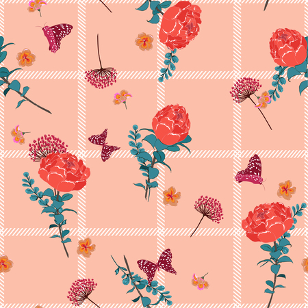 Trendy summer seamless pattern spring branch delicate and beautiful  blooming flowers vector on hand drawn grid  check for fashion fabric ,wallpaper ,book ETC on  pink background color