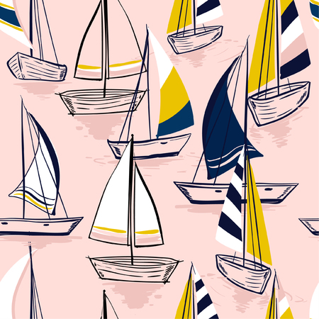 Beautiful Hand drawing  sketch Seamless summer sea pattern with sailing ships on sweet pink  background. Nautical pattern vector Çizim