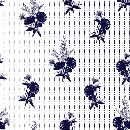 Modern silhouette dark bule blooming flowers on hand drawn dashed line seamless pattern vector for fashion fabric and every prints on white background Ilustração