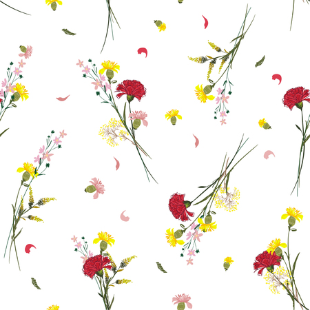 Zomer Wild bloemenpatroon Botanische motieven willekeurig verspreid. Naadloze vector textuur. Voor modeprints. Afdrukken met in de hand getekende stijl op witte achtergrond.