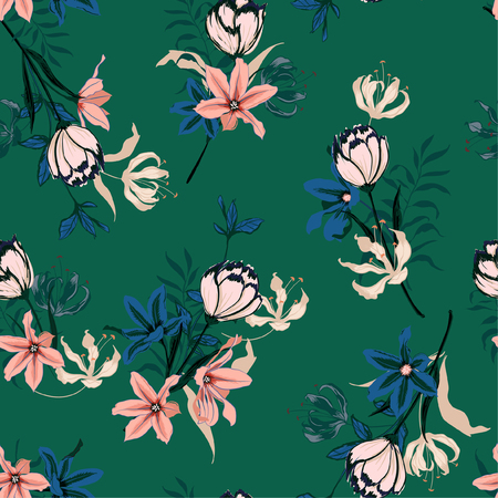 Trendy Seamless pattern vector with tulips flowers. Hand drawing illustration with wild floral for fashion ,fabric, and all prints on deep green forest  background colors.
