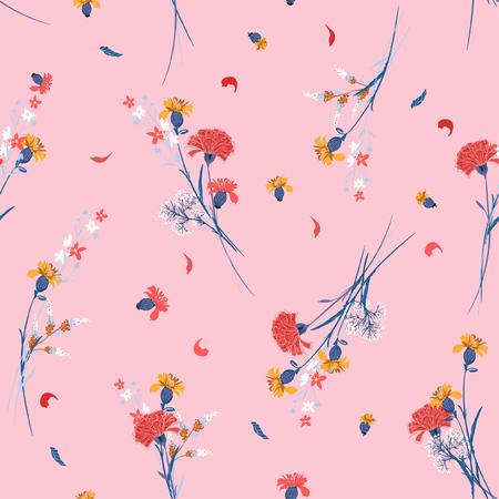 甘い野生の花のパターン植物のモチーフはランダムに散らばった。シームレスなベクター テクスチャ。ファッションプリント用。ピンクの背景に手描きスタイルで印刷します。