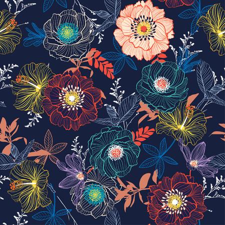 Línea mano dibujo floreciente jardín flor contraste colorido vector de patrones sin fisuras para tela de moda y todas las impresiones sobre fondo azul marino