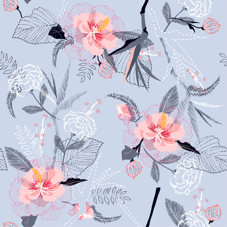 Artistic tropical flower pattern on sketch line dash seamless pattern vector on light smoke blue background