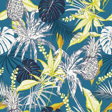 Bunte tropische Waldblätter des Sommers und des nahtlosen Mustervektors der gezeichneten Lockenartart für Modestoff, Tapete und alle Drucke auf ozeanblauer Hintergrundfarbe