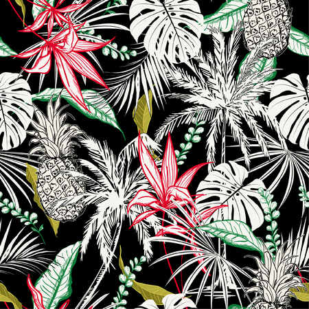 Dark tropical forest night  leaves and tress  hand drawn style seamless pattern vector for fashion fabric , wallpaper, and all prints on black background color