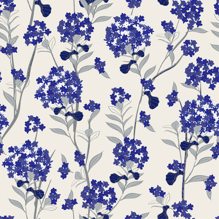 Vector Blooming blue hydrangea flowers seamless pattern vector for fashion wallpaprer fabric and all prints on light grey background Stock Illustratie