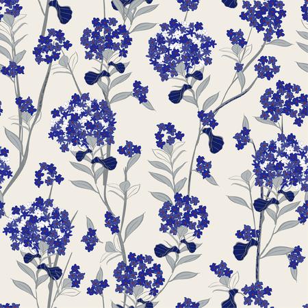 Vecteur de fleurs d'hortensia bleu en fleurs vecteur transparente motif pour tissu wallpaprer fashion et toutes les impressions sur fond gris clair