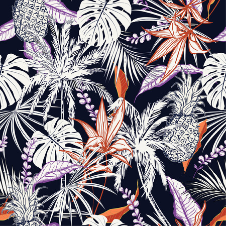 Summer night colorful  tropical forest  leaves and tress  hand drawn style seamless pattern vector for fashion fabric , wallpaper, and all prints on navy blue  background color Illustration