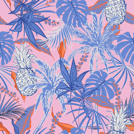Sweet tropical forest  leaves and tress  hand drawn style seamless pattern vector for fashion fabric , wallpaper, and all prints on pink background color Illustration