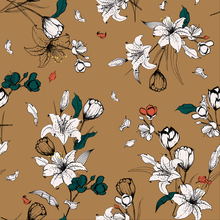 Beautiful outline sketch and hand drawn lily flowers. Botanical  Motifs scattered random. Seamless pattern vector texture. For fashion prints. printing ,fabric,fashion wallpaper and all prints on stylish brown