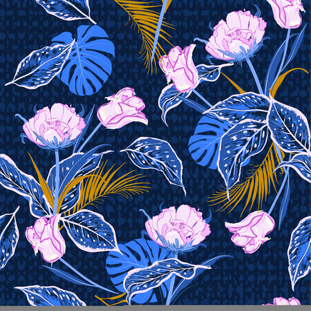 Dark tropical wild flower and tulips , leaves jungle forest seamless pattern vector with hand drawn polka dots texture on navy blue background for fashion,fabric and all prints