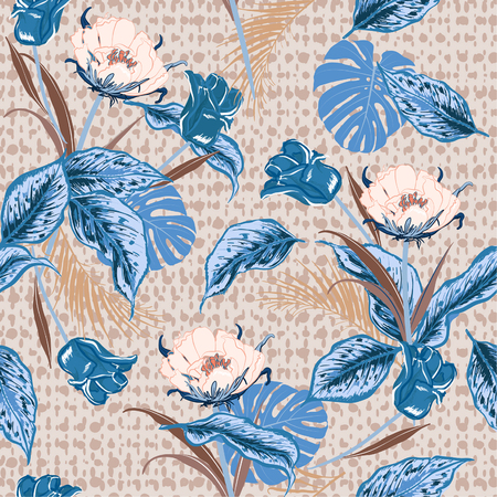 Beautiful Retro tropical wild flower and tulips, leaves jungle forest seamless pattern with hand drawn polka dots texture on beige  background Illustration