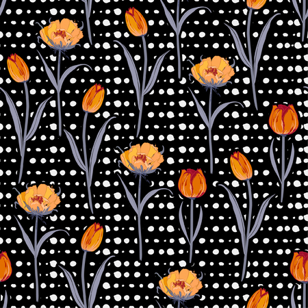 Trendy stylish Seamless hand drawn pol kadots  pattern with blooming tulip flowers background. Vector summer design