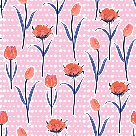 Soft and gentle Seamless hand drawn pol kadots pattern with fresh orange blooming tulip flowers background