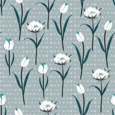 Soft and gentle Seamless hand drawn pol kadots  pattern with white blooming tulip flowers background Ilustrace