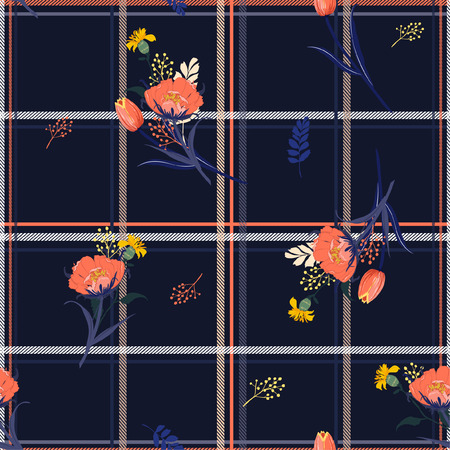Grid check background on top with beautiful blowing tulip leaves and garden flowers seamless pattern