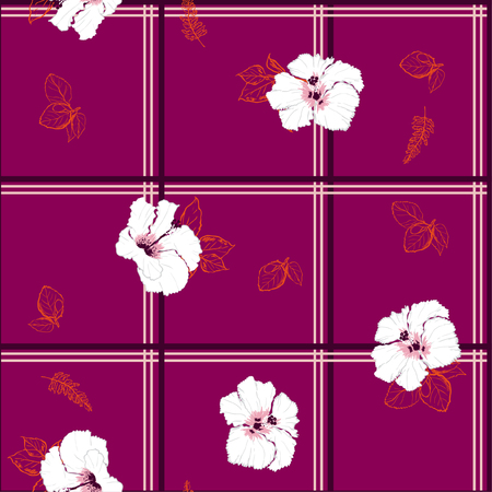 Beautiful  Seamless pattern delicate and beautiful wild blooming Hibiscus flowers vector with check or grid check