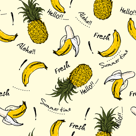 Pineapple and  banana hand drawn sketch ,greeting Aloha fresh ,summer time ,seamless pattern for fashion and all fabric on light beige background color.