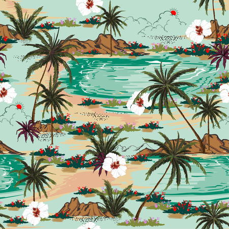 Bright summer hawaii  seamless island pattern vector. Landscape with palm trees,beach and ocean vector hand drawn style on light blue color background. Illustration