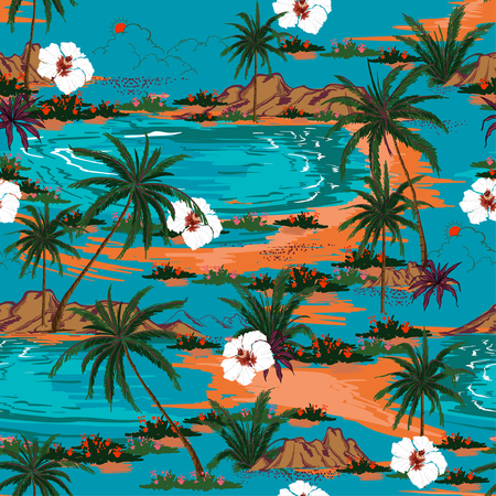 Retro summer hawaii  seamless island pattern vector. Landscape with palm trees,beach and ocean vector hand drawn style on blue ocean color background.