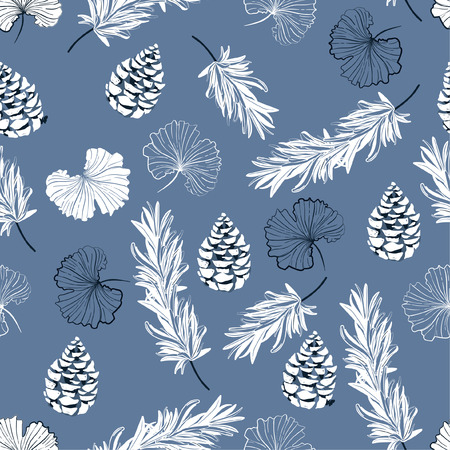 Monotone on blue Autumn outline ginko leaves and pine nuts in scatter seamless pattern vector repeat  in hand drawn style for fashion fabric,and all prints on blue background color