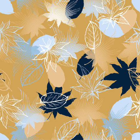 Beautiful retro Hand drawn Maple leaves mix with modern line in maple shape and autumn leaves element  seamless pattern vector layer for fashion,fabric,and all prints on light beige background. 일러스트
