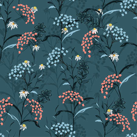 Beautiful dark Autumn seamless pattern vector with pink and blue berries and leaves. Fall colorful floral background.pattern for fashion,fabric and all prints on dark green background.