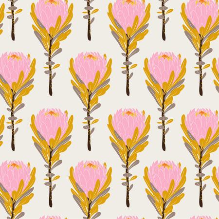 Pastel Vintage roze protea bloemen in naadloze patroon vector regelmatig herhalen voor mode, stof en alle prints op licht beige achtergrondkleur
