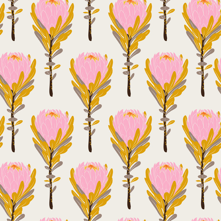 Pastel Vintage pink protea flowers in seamless pattern vector regular repeat for fashion ,fabric and all prints on light beige background color Illustration