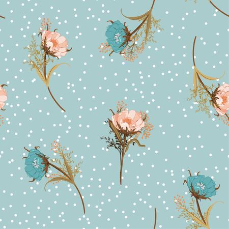 Beau vecteur de motif sans soudure de fleurs de jardin de soufflage pastel vintage à pois blancs dispersés sur fond bleu ciel rétro pour la mode, le tissu et tous les tirages