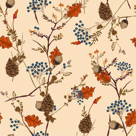 Retro Autumn pattern with  berries,pine cone,nuts,flowers ,branches and leaves Seamless vector . Fall colorful floral background.pattern for fashion,fabric and all prints on stylish brown background.