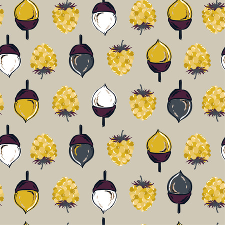 Autumn seamless pattern vector ,pine cone ,nuts and berries regular repeat on hand drawn style for fashion ,fabric,and all prints on light grey background