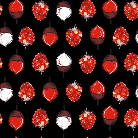 Beautiful dark Autumn seamless pattern vector ,pine cone ,nuts and red berries regular repeat on hand drawn style for fashion ,fabric,and all prints on black background