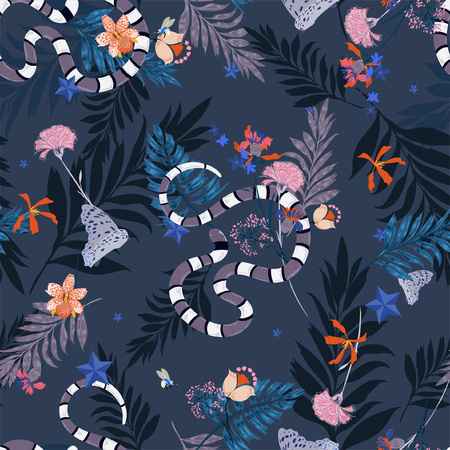 Forest in the night  in seamless pattern vector with snake , leaves ,flowers,insect,butterfly,bees for fashion and all prints on navy blue background