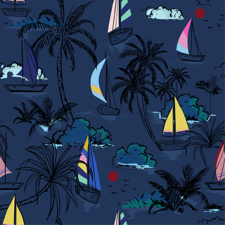 Summer dark night Beautiful seamless pattern island with colorful  boat and wind surf . Landscape with palm trees,beach and ocean vector on hand drawn sketch on navy blue background.