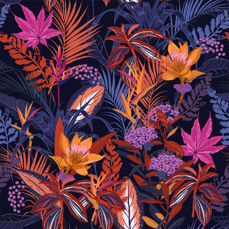 Colorful high contrast Summer night wild forest full of  blooming flower in many kind of florals seasonal seamless pattern vector ,hand drawing style for fashion, fabric and all prints on navy blue background.