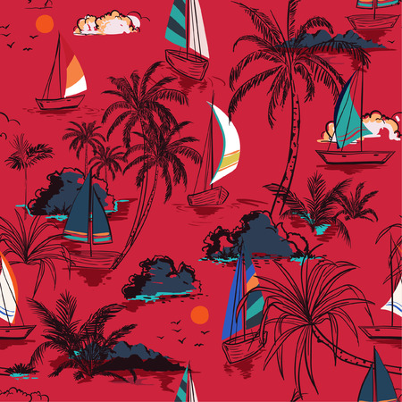 Trendy seamless pattern island with colorful  boat and wind surf . Landscape with palm trees,beach and ocean vector on hand drawn sketch on red background. Vettoriali