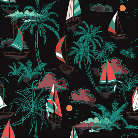Beautiful Colorful Summer Beautiful seamless pattern island with boat and wind surf . Landscape with palm trees,beach and ocean vector on hand drawn sketch on black color background.