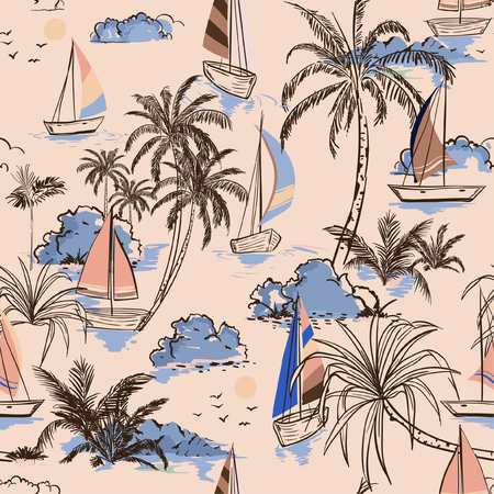 Summer Vintage Beautiful seamless pattern island with boat and windsurf on retro style. Landscape with palm trees,beach and ocean vector on hand drawn on light pink color background.