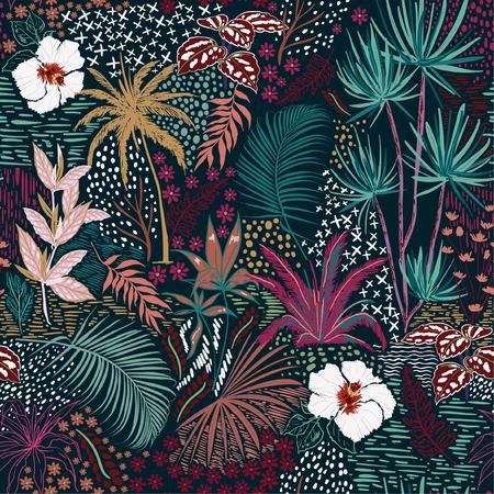Bello reticolo senza giunte della foresta di estate scura tropicale di schizzo a mano retrò con palme colorate, foglie, piante esotiche selvatiche e piante in stile disegnato a mano, per la moda, il tessuto e tutta la stampa