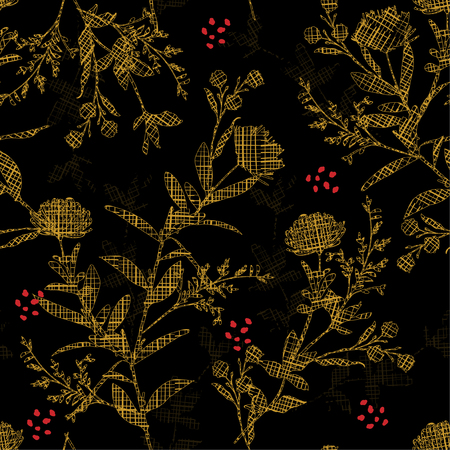 Dark modern Silhouette flowers with hand drawn sketch yellow line check fill-in pattern inside,Seamless pattern vector for fashion ,fabric and all prints on black background color. Иллюстрация