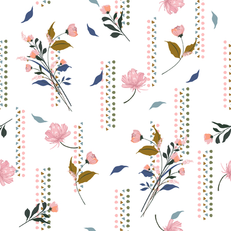 Beautiful and gental blowing garden flowers on sweet tone with hand drawn geometric vertical stripe seamless pattern vector for fashion,fabric and all prints on white background color.