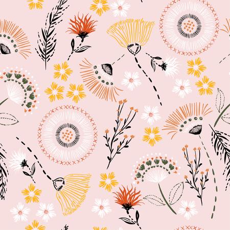 Pastel dulce de patrones sin fisuras Dibujo a mano colorido dibujo flores de jardín y línea, hojas de guión en trajes de vector de estilo doodle para moda, tela y todas las impresiones en color de fondo rosa claro