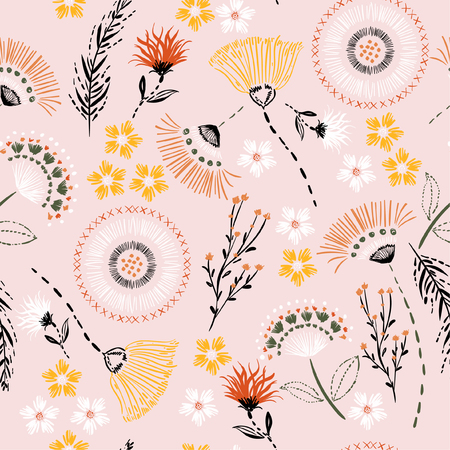 Sweet pastel  Seamless pattern Colorful hand drawing sketch garden flowers and line ,dash leaves in doodle style vector suits for fashion,fabric and all prints on light pink  background color