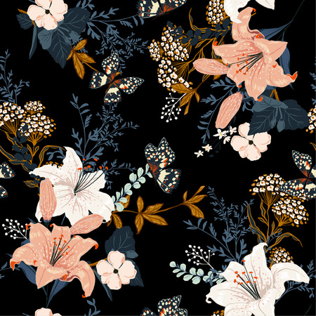 Dunkle romantische Gartenblumen in der Nacht, voller blühender Lilly und vieler Arten von Blumen, nahtloses Musterdesign für Mode, Stoff, Tapeten und alle Drucke auf schwarzer Hintergrundfarbe.