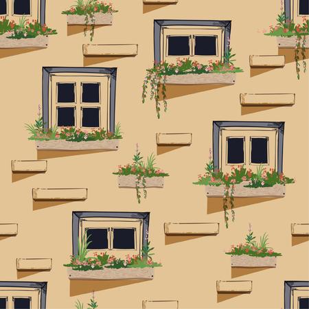 Nahtloser Musterhintergrund der Wand mit Fenstern in den Sommerschwingungen, Vektorillustration, Entwurf für Mode, Stoff und alle Drucke auf beige Backsteinhintergrundfarbe. Vektorgrafik