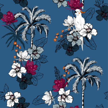 A summer palm trees on the blue forest blooming with exotic flowers and macaw bird background. Vector seamless pattern. Tropical illustration. Jungle foliage.