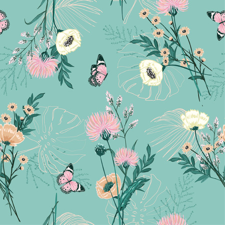 Trendy Pastel of  many kind of garden flower, plants ,botanical ,butterfly,seamless pattern vector design for fashion,fabric,wallpaper and all prints on green mint background color Illustration